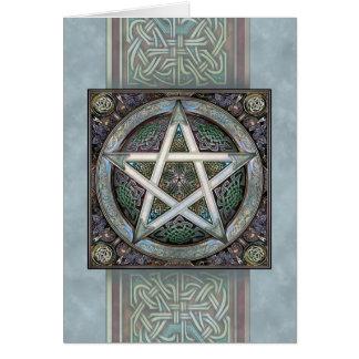 Silver Knotwork Pentacle Greeting Card