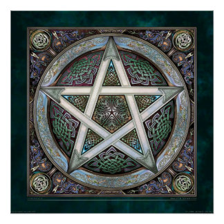 """Silver Knotwork Pentacle Poster (22x22"""")"""