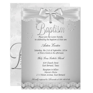 Silver Lace Cross Baptism Boy or Girl Card
