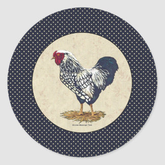 Silver Laced Wyandotte Rooster Denim Classic Round Sticker
