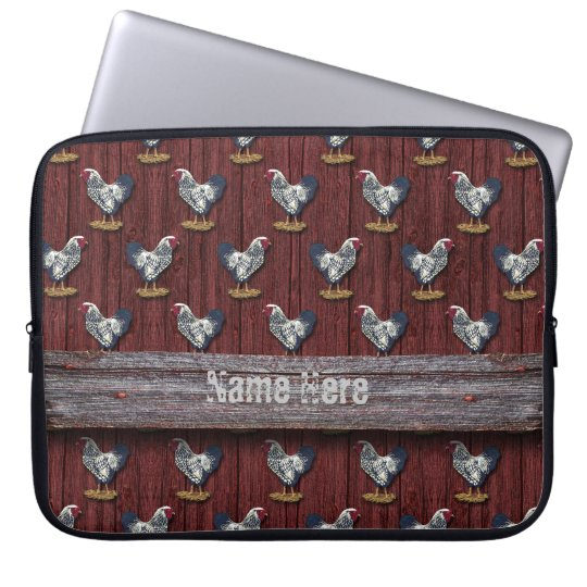 Silver Laced Wyandotte Roosters Barn Boards Laptop Sleeve
