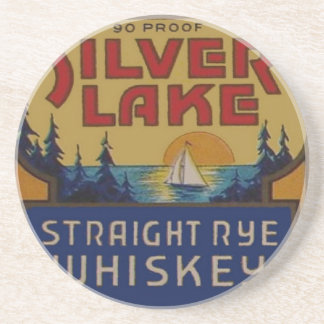 Silver Lake Whiskey Vintage Ad Label Sandstone Coaster