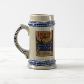 Silver Lake Whiskey Vintage Alcohol Art Label Beer Steins
