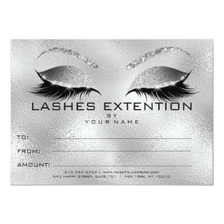 Silver Lashes Extention Makeup Certificate Gift Card