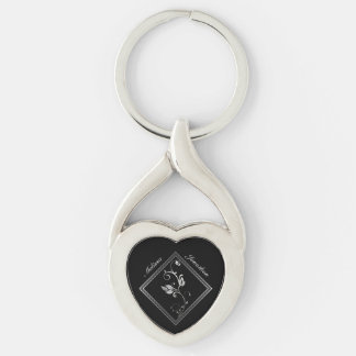 Silver Lattice Love Silver-Colored Twisted Heart Key Ring