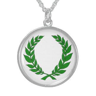 Silver Laurel Medallion Round Pendant Necklace