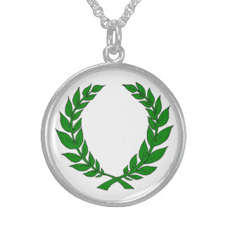 Silver Laurel Medallion Sterling Silver Necklace