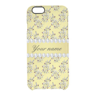 Silver Leaves Berries Faux Gold Foil Bling Diamond Clear iPhone 6/6S Case