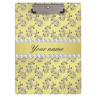 Silver Leaves Berries Faux Gold Foil Bling Diamond Clipboard