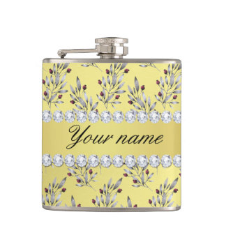Silver Leaves Berries Faux Gold Foil Bling Diamond Hip Flask