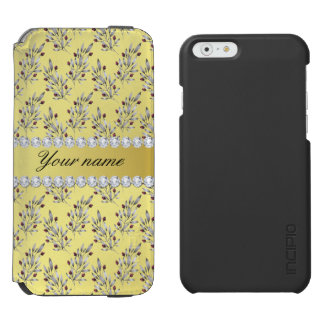 Silver Leaves Berries Faux Gold Foil Bling Diamond Incipio Watson™ iPhone 6 Wallet Case