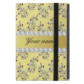 Silver Leaves Berries Faux Gold Foil Bling Diamond iPad Mini Case