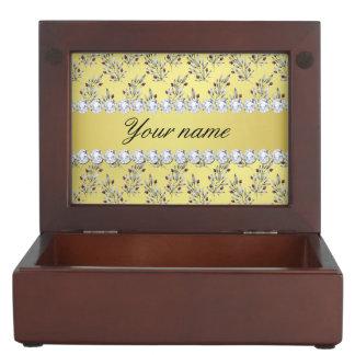 Silver Leaves Berries Faux Gold Foil Bling Diamond Keepsake Box