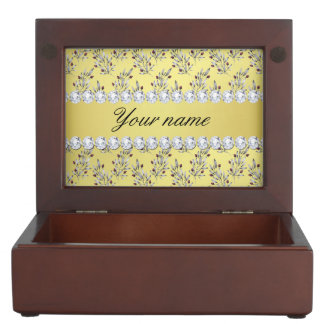 Silver Leaves Berries Faux Gold Foil Bling Diamond Keepsake Boxes