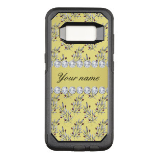 Silver Leaves Berries Faux Gold Foil Bling Diamond OtterBox Commuter Samsung Galaxy S8 Case