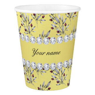 Silver Leaves Berries Faux Gold Foil Bling Diamond Paper Cup