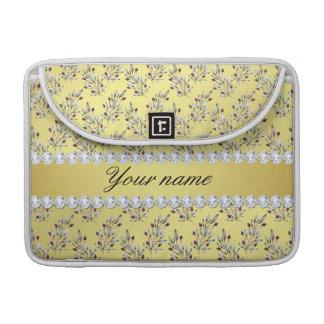 Silver Leaves Berries Faux Gold Foil Bling Diamond Sleeve For MacBooks