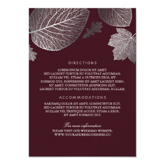 Silver Leaves Burgundy Wedding Details-Information 11 Cm X 16 Cm Invitation Card