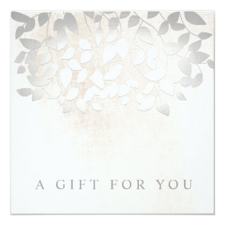 Silver Leaves Marble Salon Spa Gift Certificate Card