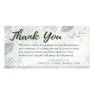 Silver Leaves Thank You Sympathy from Family Card