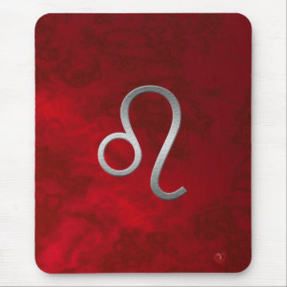 silver leo - red mouse pad