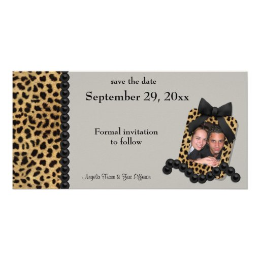 Silver Leopard And Black Pearls Save The Date Customized Photo Card