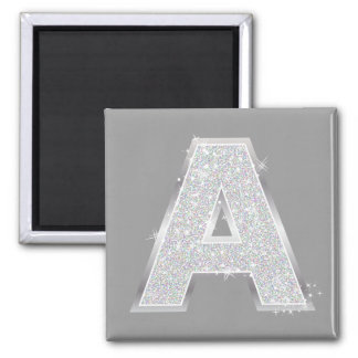 Silver Letter A Square Magnet