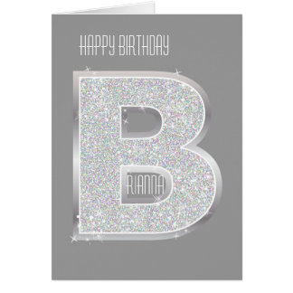 Silver Letter B Card