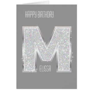 Silver Letter M Card
