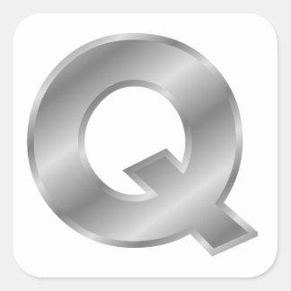 Silver Letter Q Square Sticker