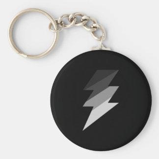 Silver Lightning Thunder Bolt Basic Round Button Key Ring