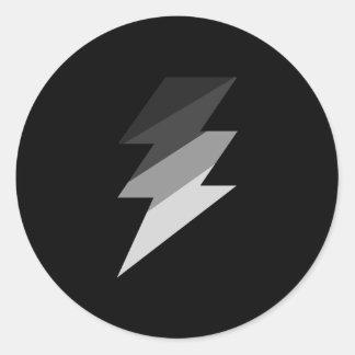 Silver Lightning Thunder Bolt Round Sticker