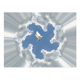 Silver lining cloud with dove postcard
