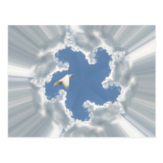 Silver lining cloud with flying dove postcards