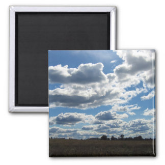 Silver Lining Clouds Sky Square Magnet