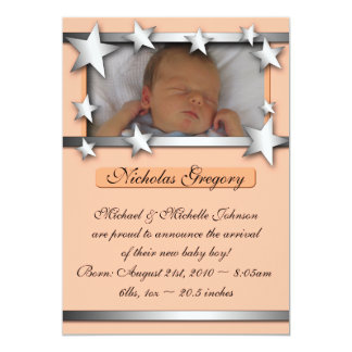 Silver Lining Stars Orange Birth Announcements