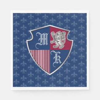 Silver Lion Coat of Arms Monogram Emblem Shield Disposable Napkin