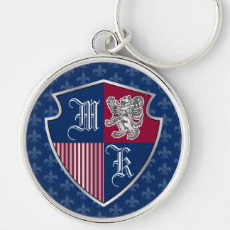 Silver Lion Coat of Arms Monogram Emblem Shield Key Ring