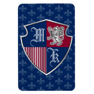 Silver Lion Coat of Arms Monogram Emblem Shield Magnet