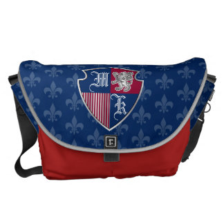 Silver Lion Coat of Arms Monogram Emblem Shield Messenger Bag