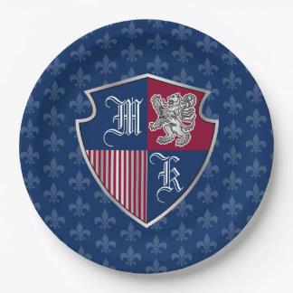 Silver Lion Coat of Arms Monogram Emblem Shield Paper Plate
