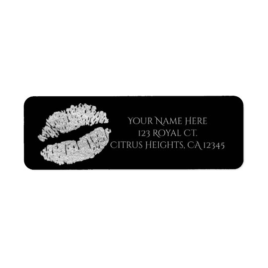 Silver Lips Faux Sparkle Kiss Beauty Makeup Party Return Address Label