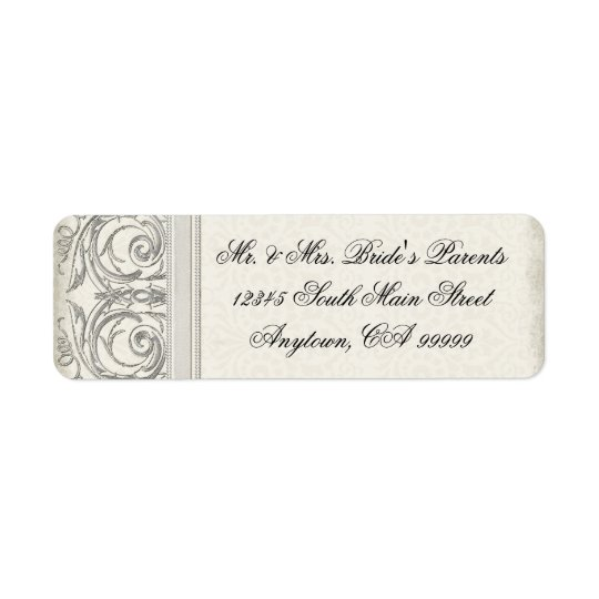 Silver Look Swirl Heart Elegant Wedding Address Return Address Label