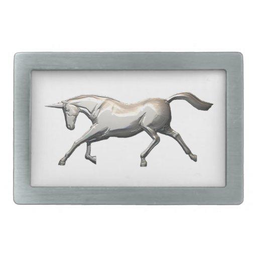 Silver-look Unicorn Rectangular Belt Buckles