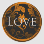Silver Love Damask  Envelope Seal Round Stickers