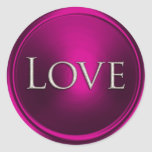 Silver Love Envelope Seal Round Stickers