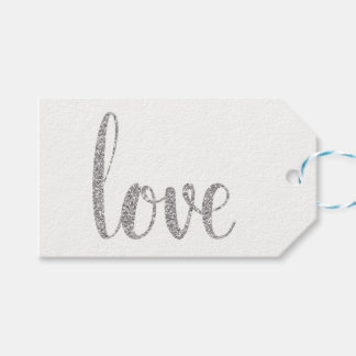 Silver love favor tags, glitter, horizontal gift tags