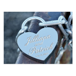Silver Lover Padlock Specialized Calligraphic Text Postcard