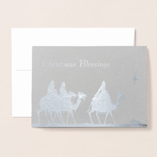 Silver Magi and Star Christmas Foil Card