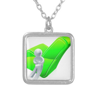 Silver man leaning on tick personalised necklace